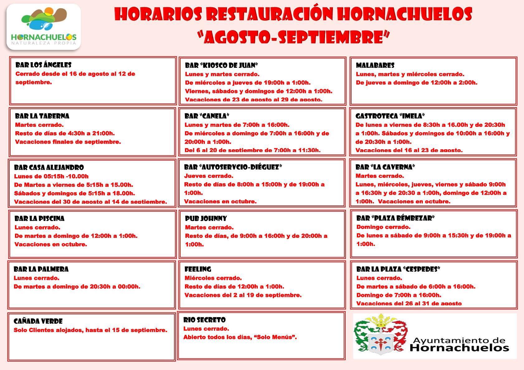 Horarios Restauración Hornachuelos agosto-septiembre